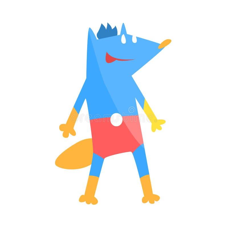 Djur för blå räv som kläs som Superhero med tecken för vigilante för udde ett komiker maskerat geometriskt royaltyfri illustrationer