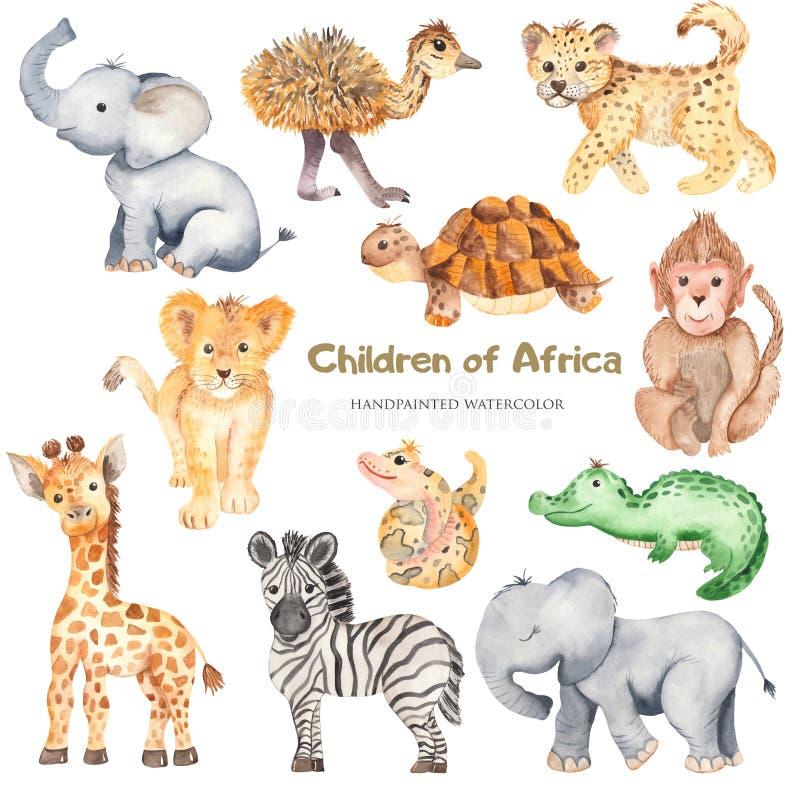 Djur för gullig tecknad film för vattenfärg afrikanska royaltyfri bild