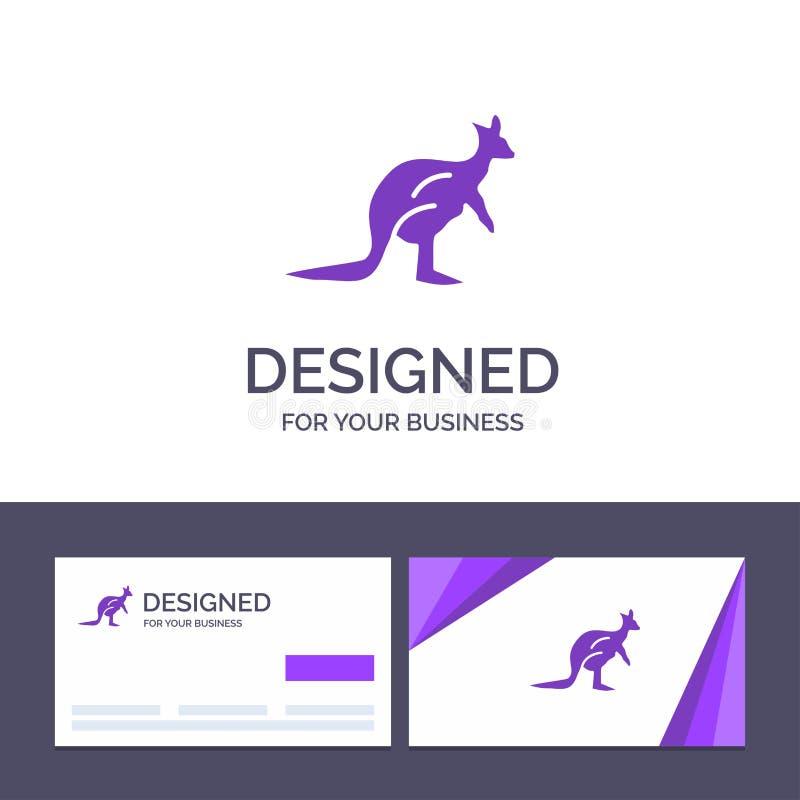 Djur för idérik mall för affärskort och logo, Australien, australier som är infödd, känguru, loppvektorillustration stock illustrationer