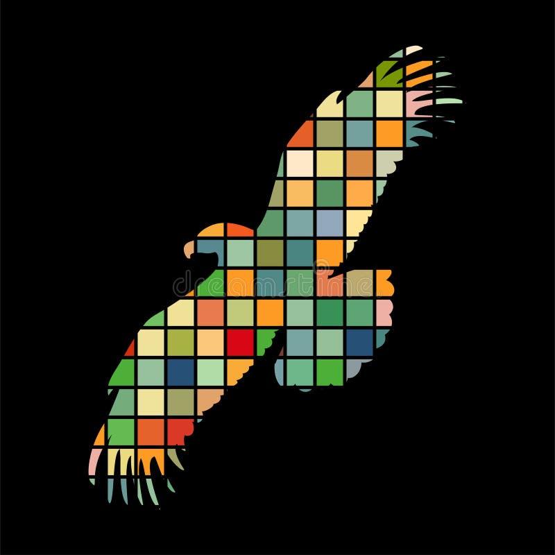 Djur för kontur för Eagle fågelfärg stock illustrationer