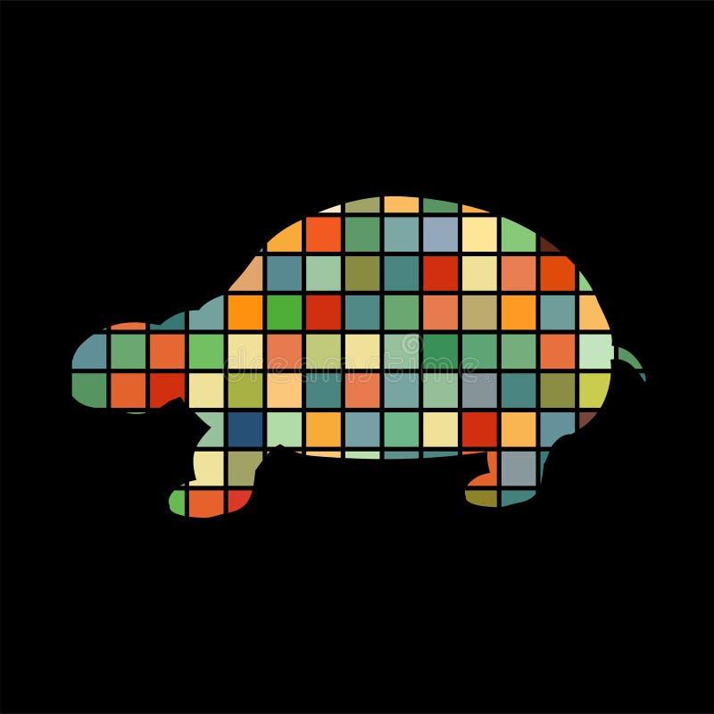 Djur för kontur för färg för landsköldpaddareptil vektor illustrationer