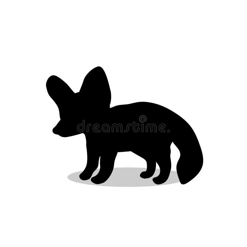 Djur för kontur för Fennec rävsvart vektor illustrationer