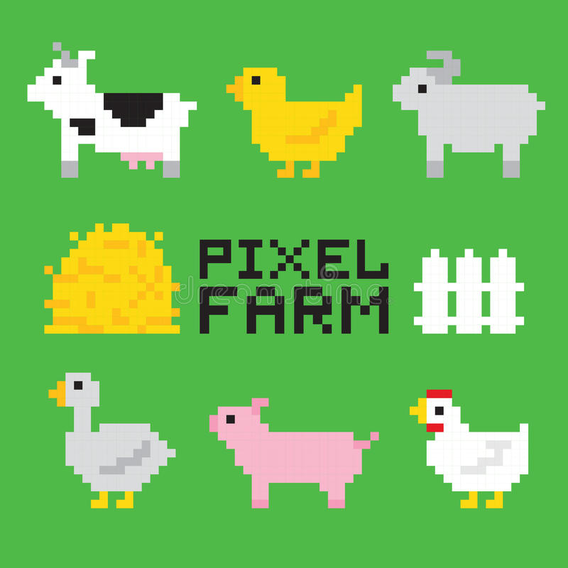 Djur för PIXELkonstlantgård isolerade vektoruppsättningen royaltyfri illustrationer
