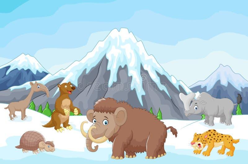 Djur för tecknad filmsamlingsistid royaltyfri illustrationer