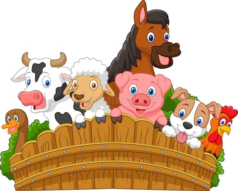 Djur för tecknad filmsamlingslantgård royaltyfri illustrationer