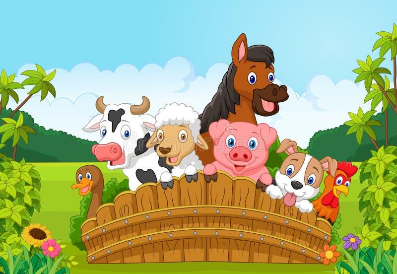 Djur för tecknad filmsamlingslantgård i skogen stock illustrationer