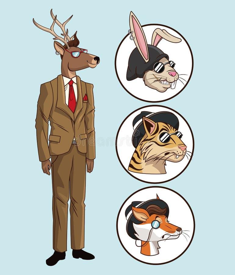 Djur för uppsättning för hjortar för modehipsterstil stock illustrationer