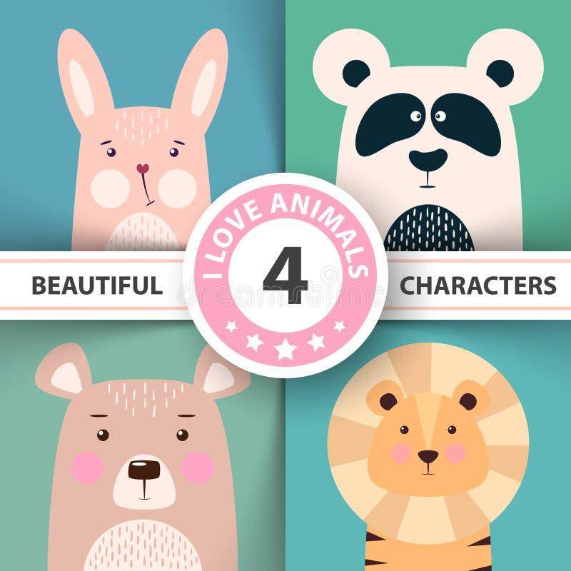 Djur fastställd kanin för tecknad film, panda, björn, lejon royaltyfri illustrationer