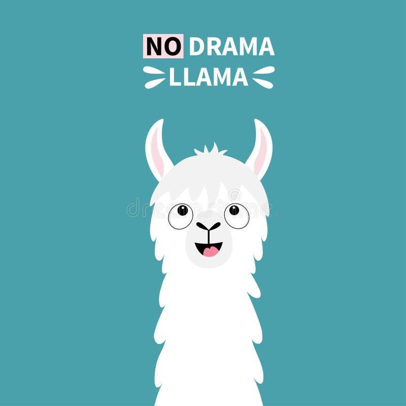 Djur framsida för lamaalpaca som ser upp Ingen drama Rolig kawaii för gullig tecknad film som ler teckenet Barnsligt behandla som stock illustrationer