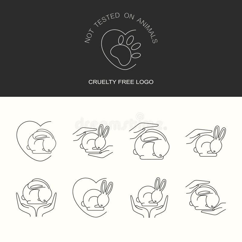 Djur grymhet frig?r logo Inte testat p? djursymbolupps?ttning vektor illustrationer