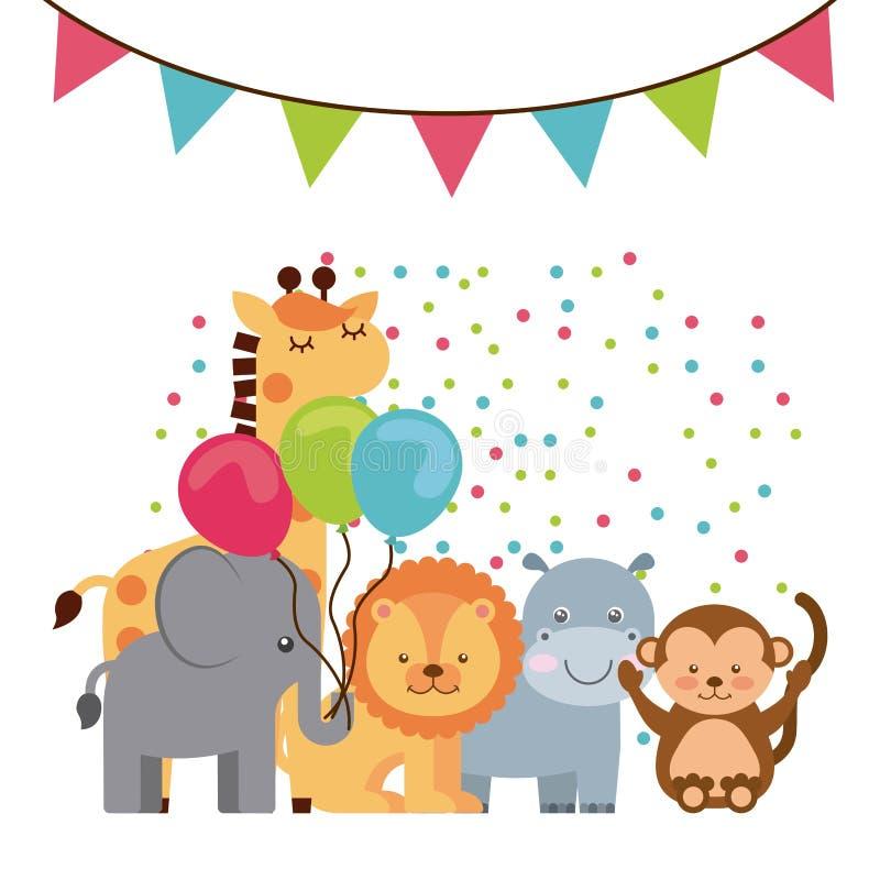 Djur gullig beröm för födelsedagparti royaltyfri illustrationer
