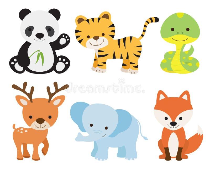 djur gullig set stock illustrationer