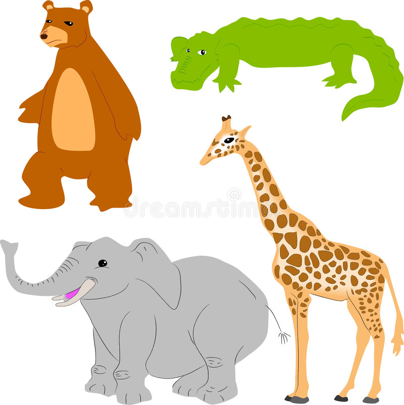djur gullig set royaltyfri illustrationer