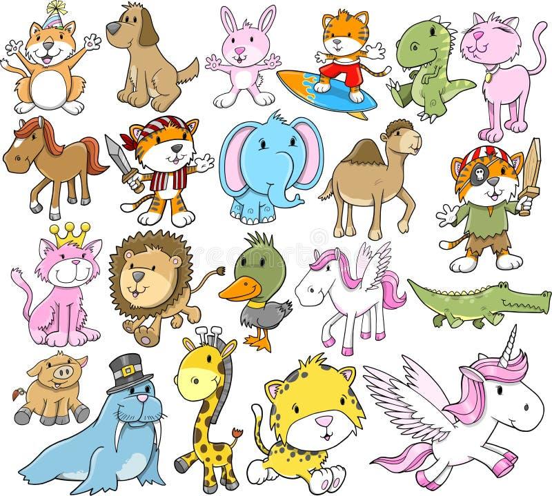 djur gullig setvektor vektor illustrationer