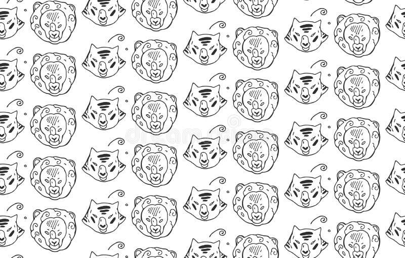 Djur heads den sömlösa modellen för teckningar av rov- lösa kattdjur tiger och lejon Målad hand Svartvit djur modell stock illustrationer