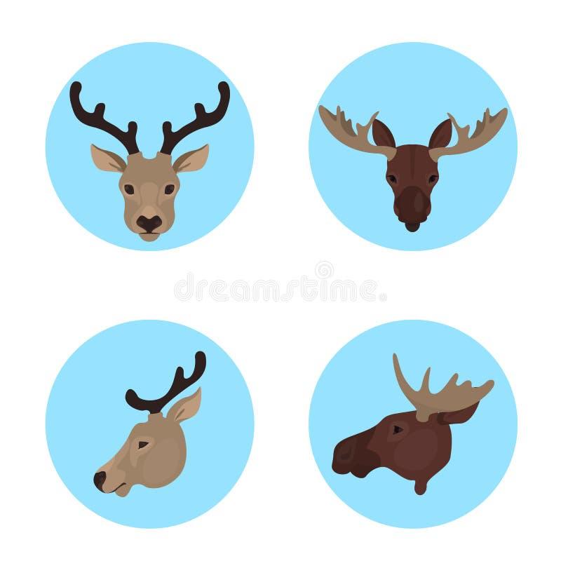 Djur huvudupps?ttning Samling av den lösa djura framsidan stock illustrationer