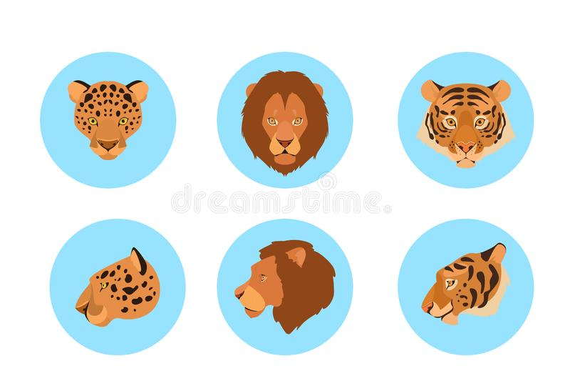 Djur huvudupps?ttning Samling av den lösa djura framsidan vektor illustrationer