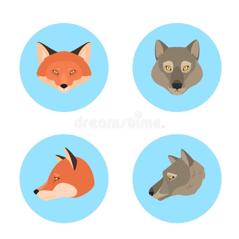 Djur huvudupps?ttning Samling av den lösa djura framsidan royaltyfri illustrationer