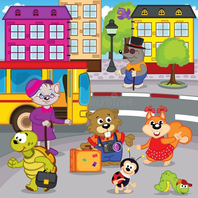 Djur i stad förvärvad buss royaltyfri illustrationer