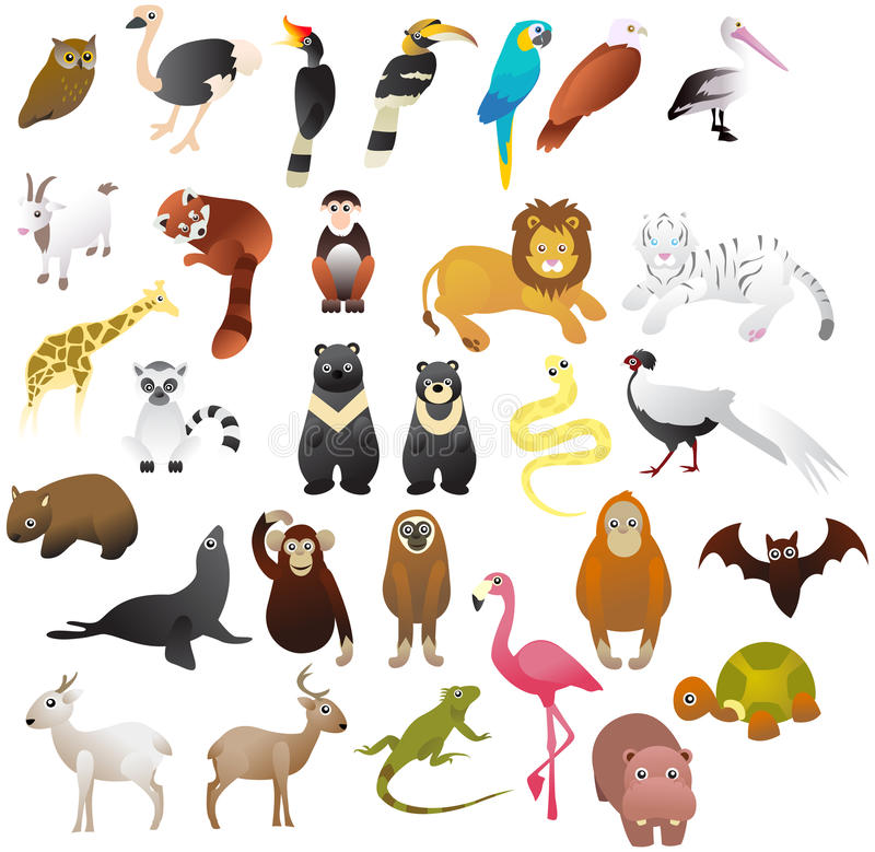 djur i zoo vektor illustrationer