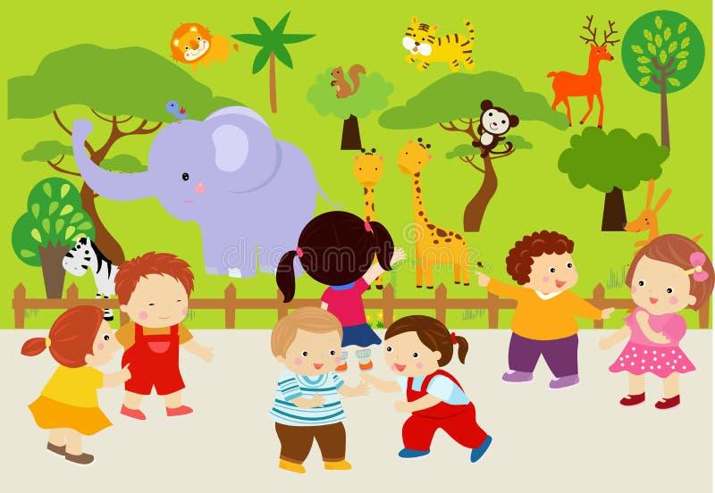 Djur i zoo royaltyfri illustrationer