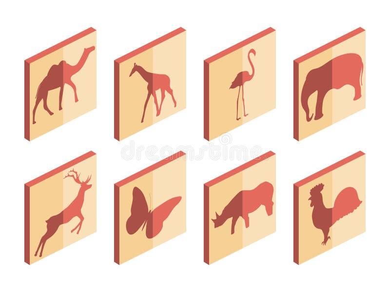 Djur isometrisk symbolsuppsättning Däggdjur och fåglar Isolerade symboler på vit bakgrund vektor vektor illustrationer