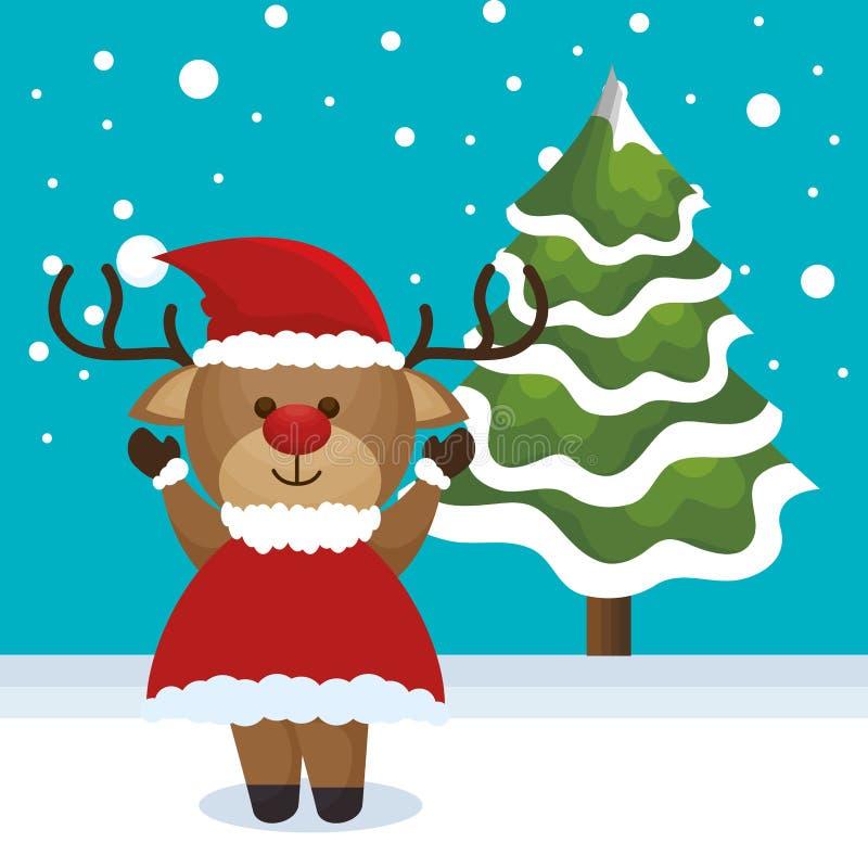 Djur julsymbol för ren royaltyfri illustrationer