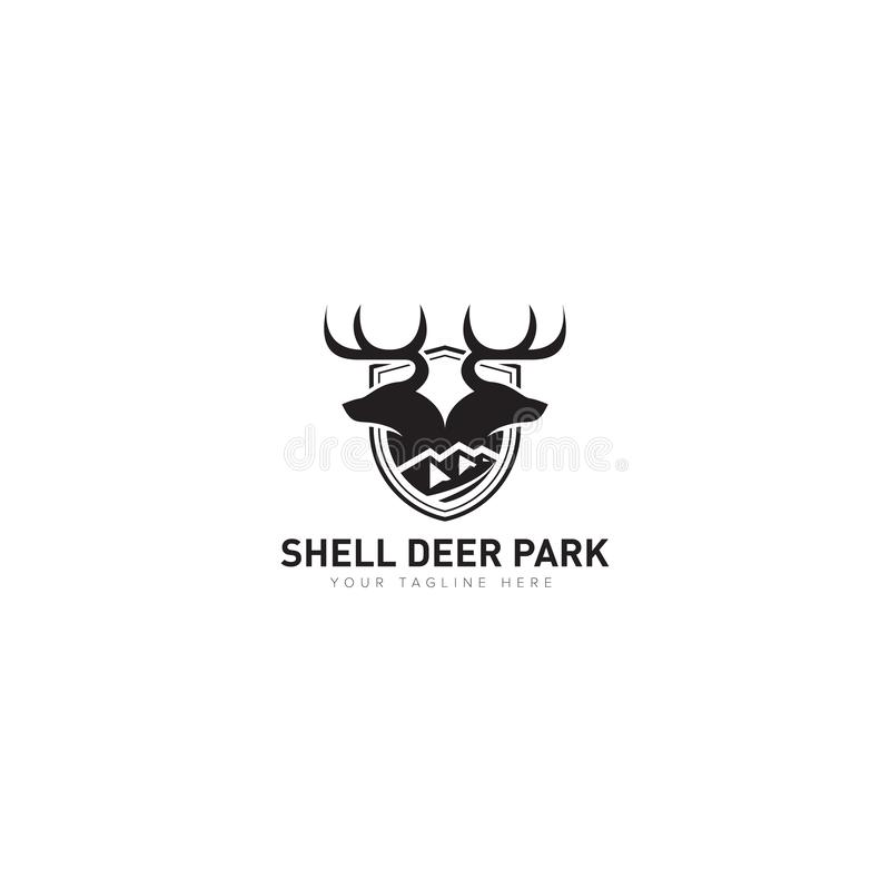 Djur kategori för Shell Deer Park Logo Design stock illustrationer