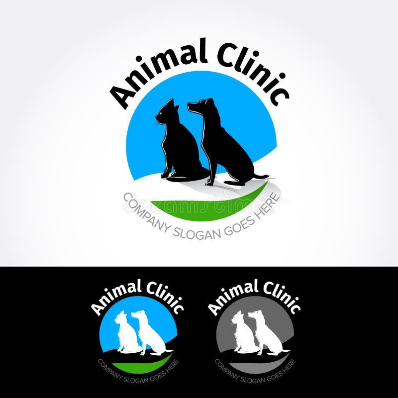 Djur klinik Mallen för vektorlogodesignen för älsklings- shoppar, veterinär- kliniker och hemlösa djurskydd royaltyfri illustrationer