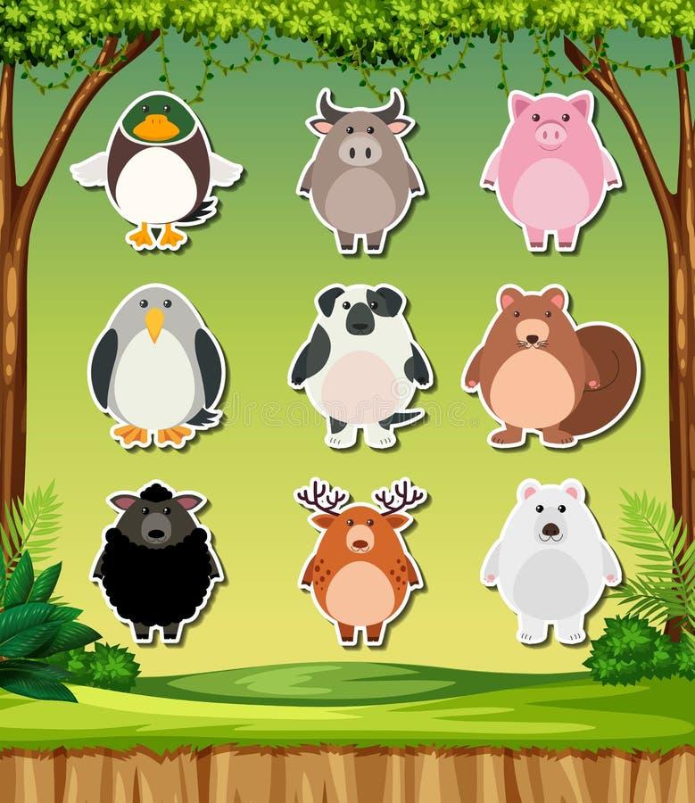 Djur klistermärke på naturbakgrund royaltyfri illustrationer