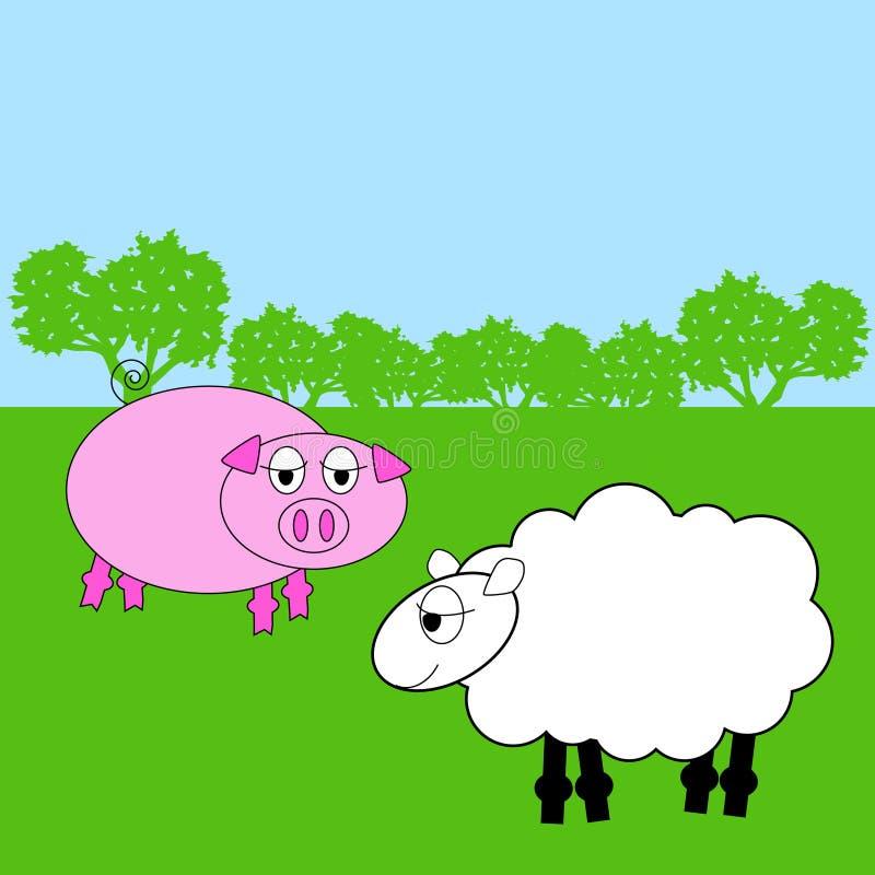 djur lantgård stock illustrationer