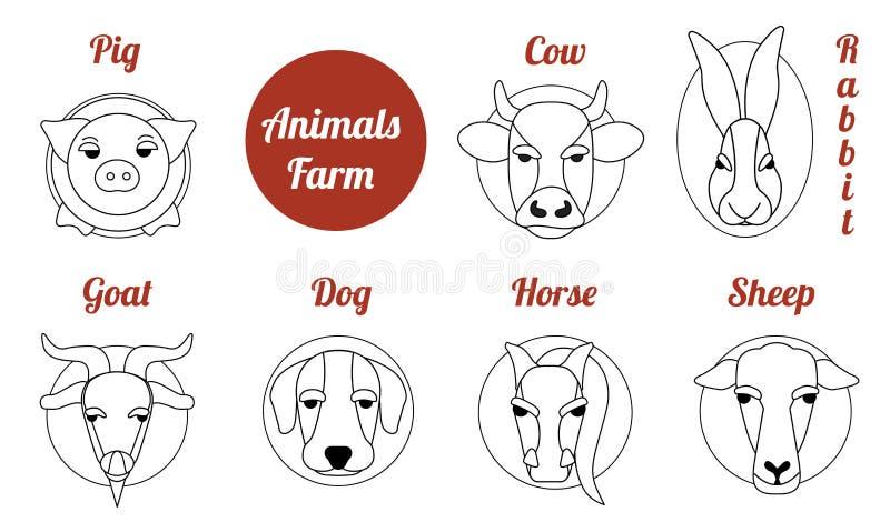 Djur lantgård för plan symbol vektor illustrationer