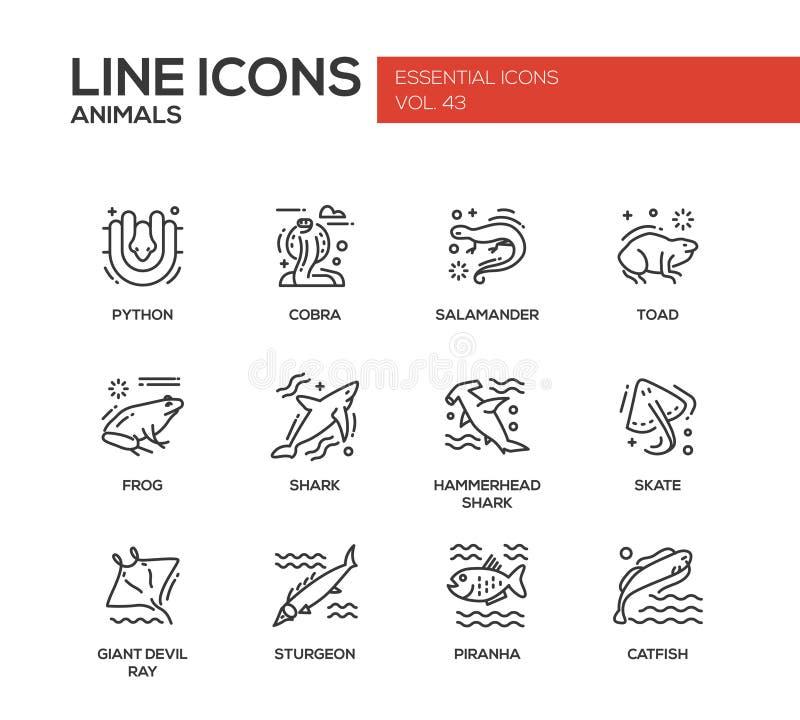 Djur - linje designsymbolsuppsättning royaltyfri illustrationer