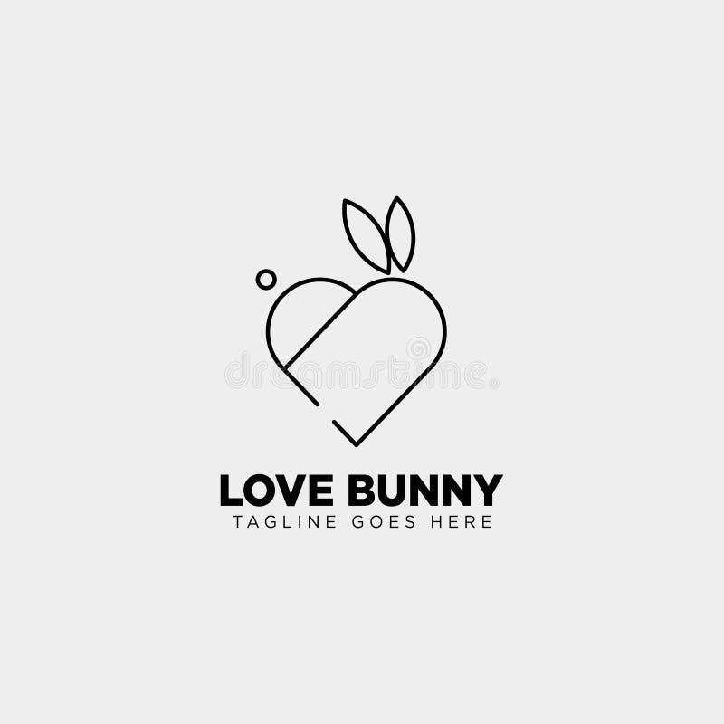 djur linje symbol för kanin eller för kaninförälskelse för vektor för mall för konststillogo royaltyfri illustrationer