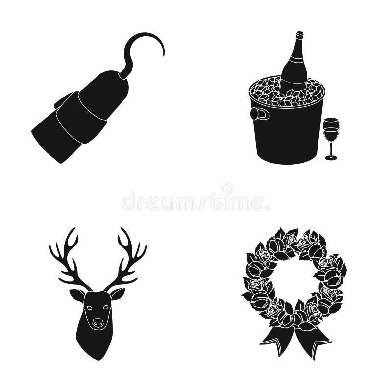 Djur, litteratur och eller rengöringsduksymbol i svart stil Alkohol rituella symboler i uppsättningsamling stock illustrationer