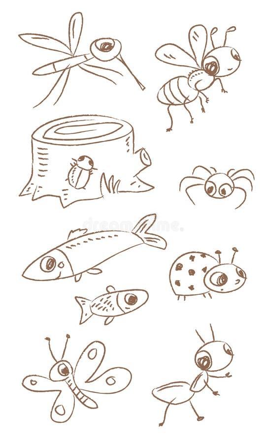 djur little stock illustrationer