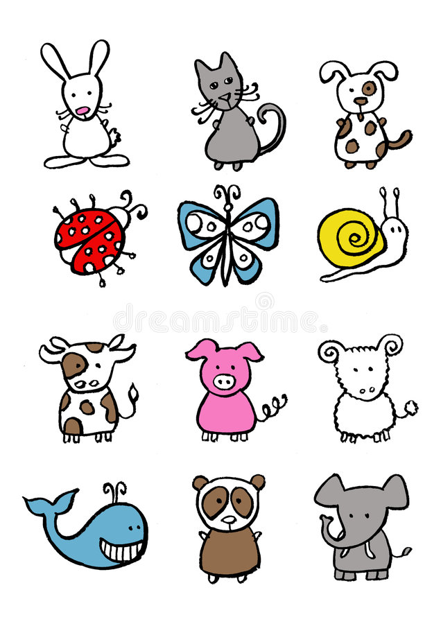 djur little vektor illustrationer