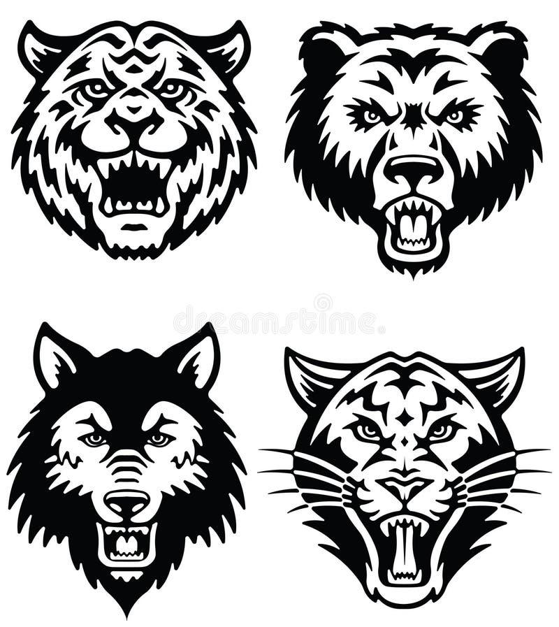 Djur maskotvektor Logo Set vektor illustrationer