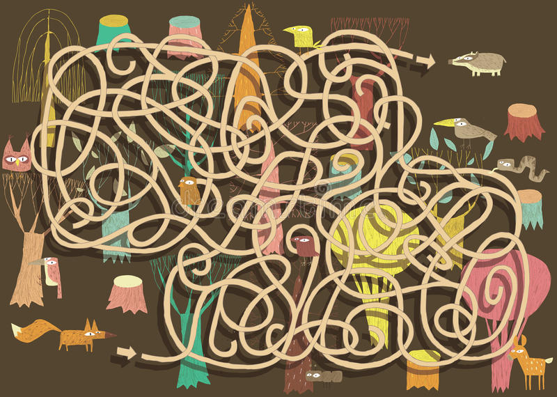 Djur Maze Game. Lösning i gömt lager! stock illustrationer
