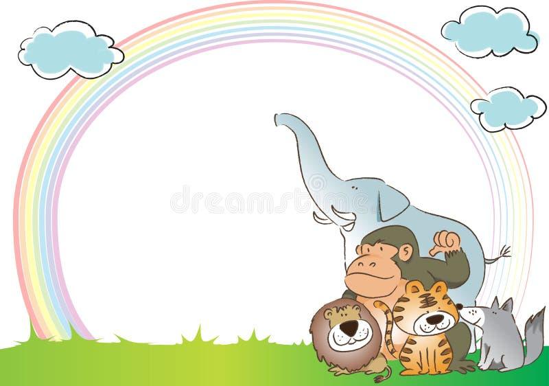 Djur med regnbågen i bakgrunden royaltyfri illustrationer