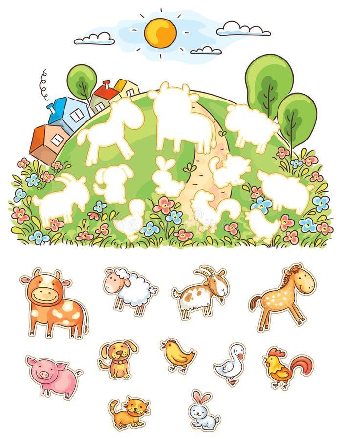 Djur och deras former som matchar leken royaltyfri illustrationer