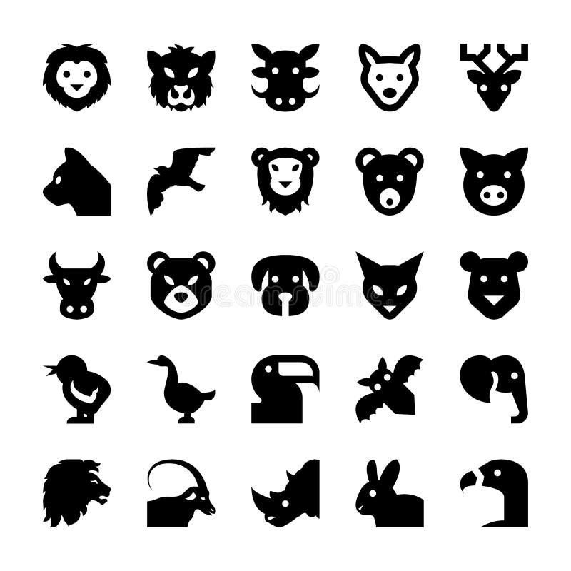 Djur- och fågelvektorsymboler 2 royaltyfri illustrationer