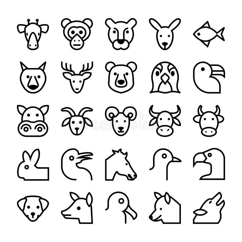 Djur- och fågelvektorsymboler 3 royaltyfri illustrationer