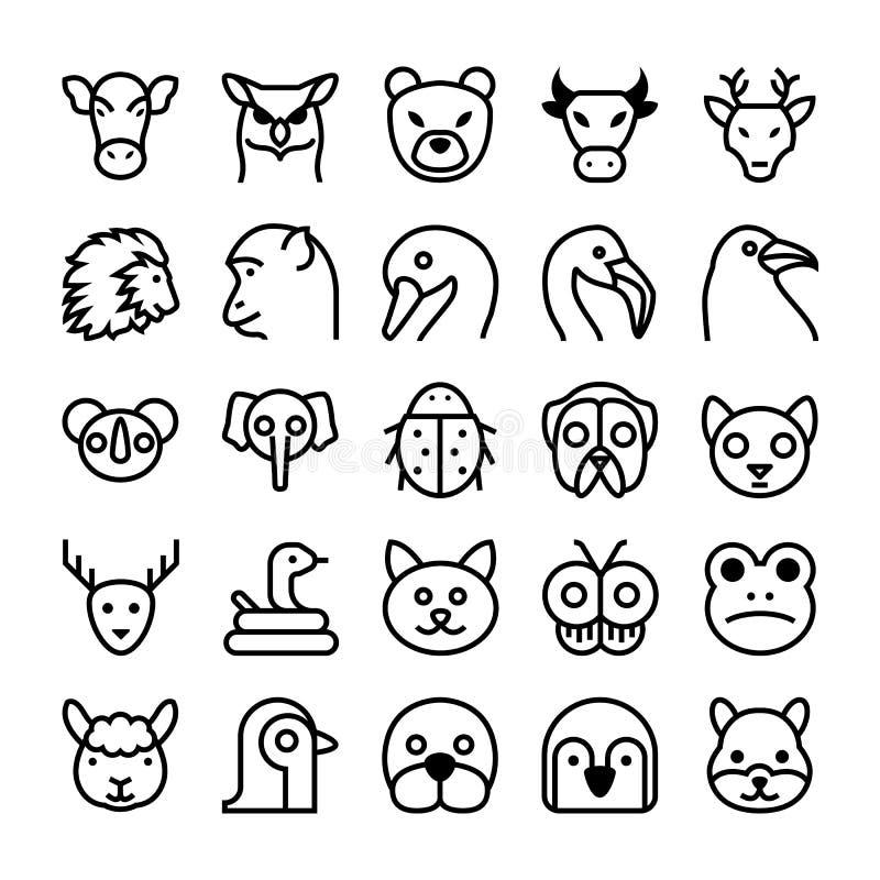 Djur- och fågelvektorsymboler 3 stock illustrationer