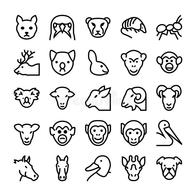 Djur- och fågelvektorsymboler 5 stock illustrationer