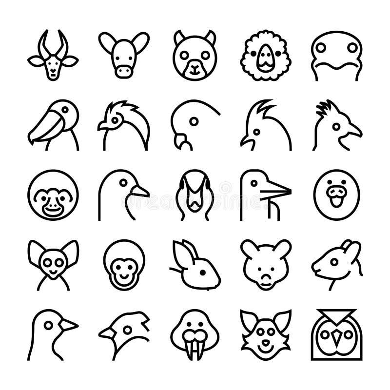 Djur- och fågelvektorsymboler 9 royaltyfri illustrationer