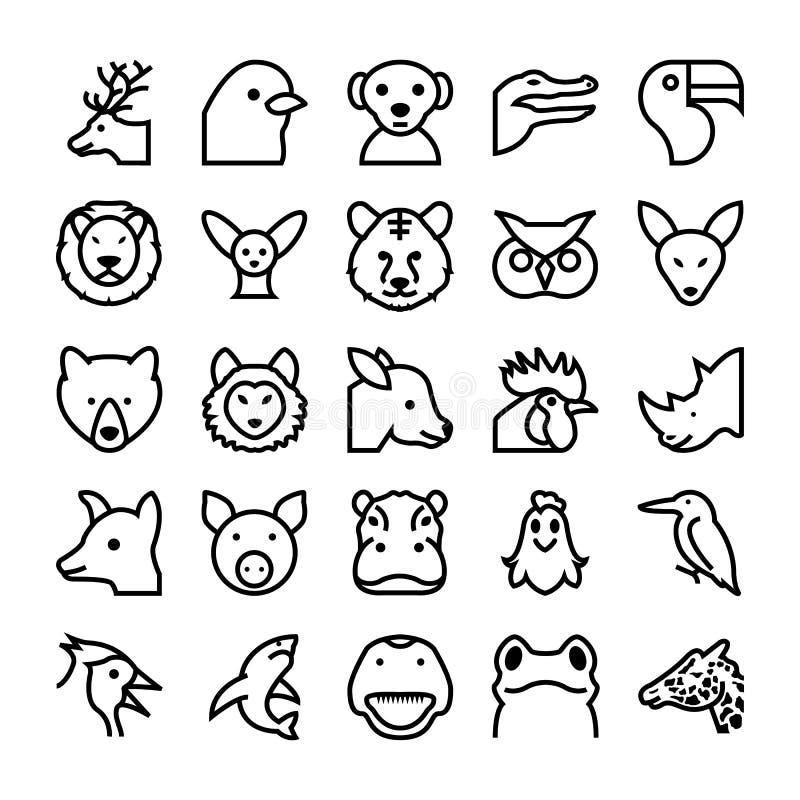 Djur- och fågelvektorsymboler 4 stock illustrationer
