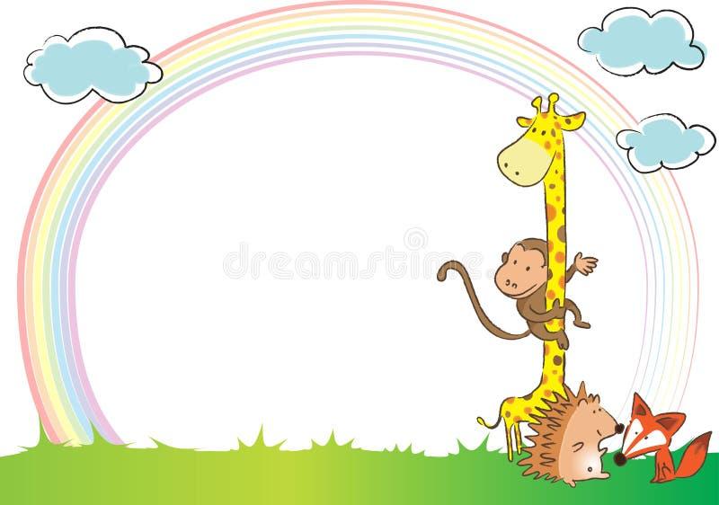Djur och regnbåge i bakgrunden vektor illustrationer