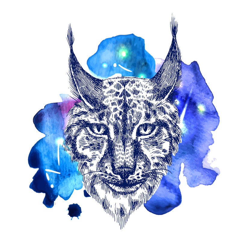Djur på vattenfärgutrymme royaltyfri illustrationer