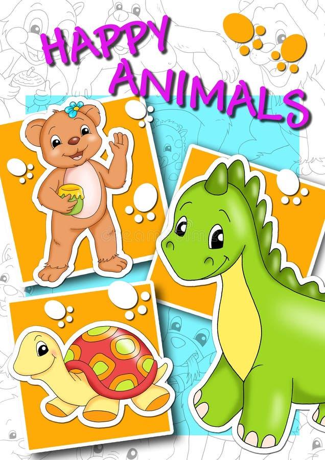 djur räknar lyckligt vektor illustrationer